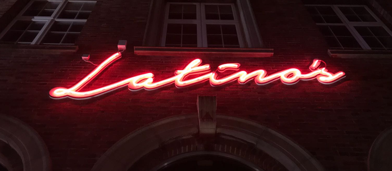"""Photo showing an LED Neon Flex Sign """"Latinos"""""""
